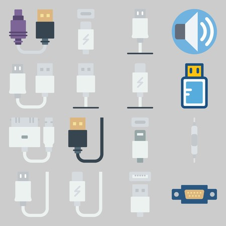 icon set about Connectors Cables. with usb cable, phone usb and volume Illustration