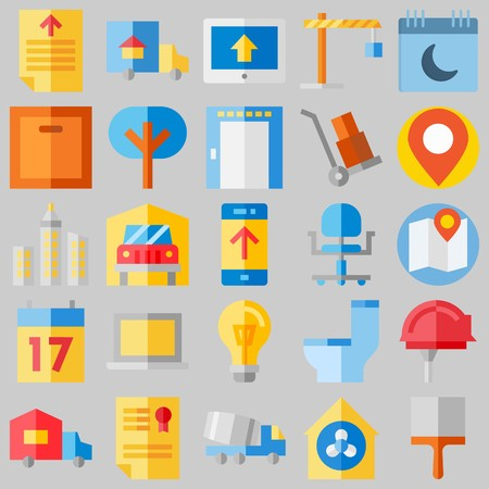 icon set about Real Assets. with diploma, up  and map Ilustrace