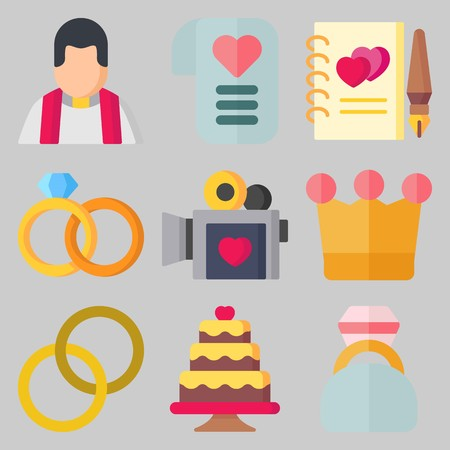 Icon set about Wedding with keywords engagement ring, love letter, guests book, wedding rings, priest and wedding cake