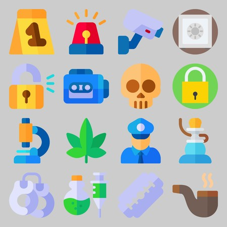 icon set about Crime Investigation. with microscope, safe and marijuana Banque d'images - 102087287