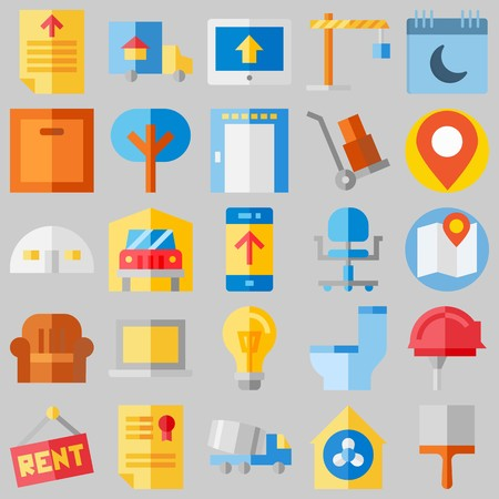 icon set about Real Assets. with storehouse, toilet and for rent Illustration