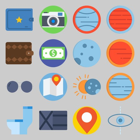 icon set about Travel. with toilet, map  and moon Illustration