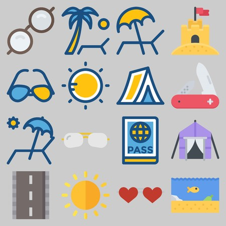 Icon set about Beach And Camping with keywords sunglasses, passport, tent, knife, sun and road Illustration