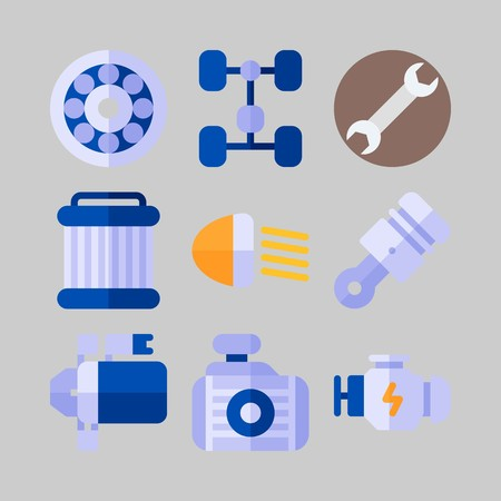 Icon set about Car Engine with piston, motor and chassis