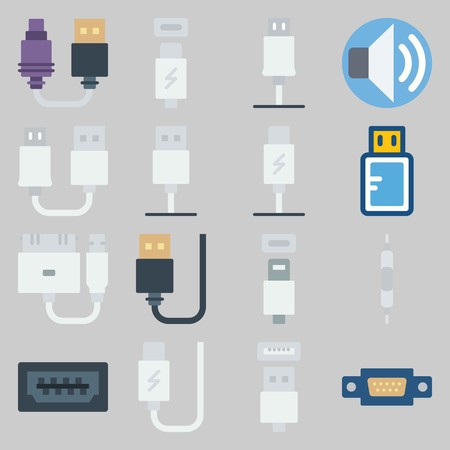 icon set about Connectors Cables. with usb cable, phone usb and usb