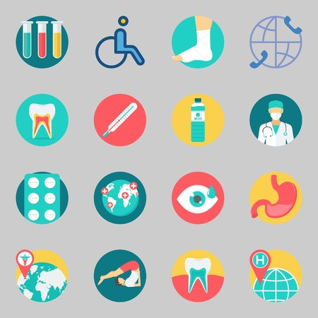 Icons set about Medical. with test tubes, yoga and visibility