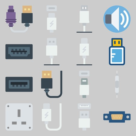 icon set about Connectors Cables. with usb cable, volume and socket Illustration