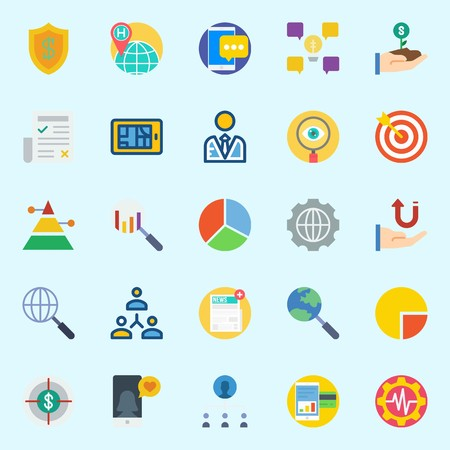 icons set about Marketing. with receive, user, networking, pie chart, teamwork and pyramid Illustration