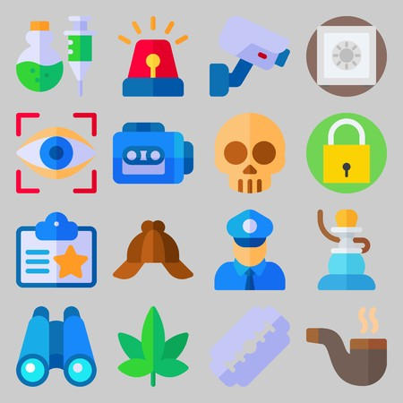 icon set about Crime Investigation. with shisha, skull and eye scan