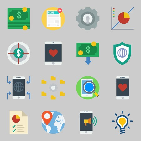 Icons set about Marketing. with money, target and settings Illustration