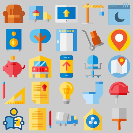 icon set about Real Assets. with savings, location and diploma Illustration