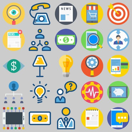 icon set about Marketing. with target, phone call and news Illustration