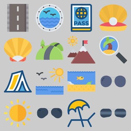 Icon set about Beach And Camping with keywords shell, tent, pearl, window, sun and sea life