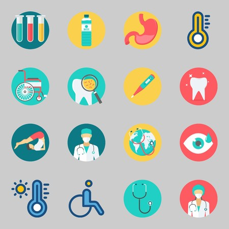 Icons set about Medical. with test tubes, stethoscope and wheelchair