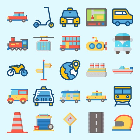 icons set about Transportation. with road, helmet, direction sing, cable car, cone and garage Illustration