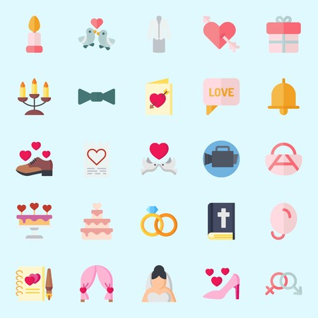 icons set about Wedding. with chat, suit, bride, balloons, wedding invitation and gift