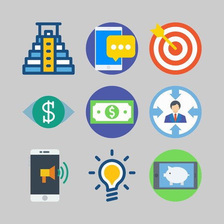 icon set about marketing with ringtone, vision and phone Illustration