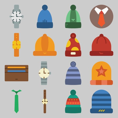 icon set about Man - Clothes. with winter hat, watch and hat Illustration