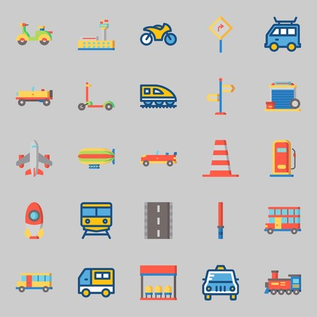 icons set about Transportation. with stick, garage, direction sing, scooter, gas station and motorbike