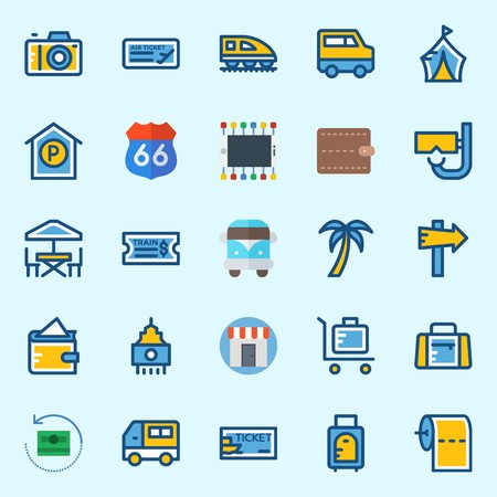 icons set about Travel. with suit case, terrace, palm, toilet paper, train and van