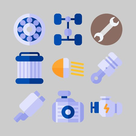 icon set about Car Engine. with chassis, wheel and engine Illustration