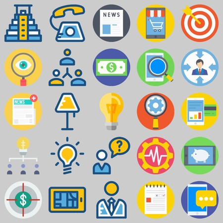 icon set about Marketing. with search, phone and newspaper