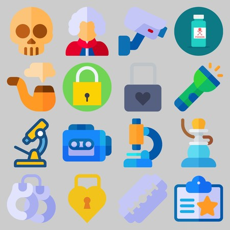 Icon set about Crime Investigation with keywords security camera, handcruffs, poison, pipe, microscope and razor