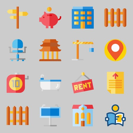 Icons set about Real Assets. with maps and flags, picket and hotel Ilustração