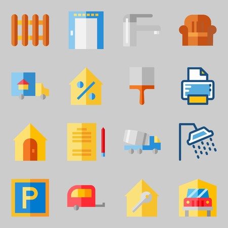 Icons set about Real Assets. with truck, real estate and printer