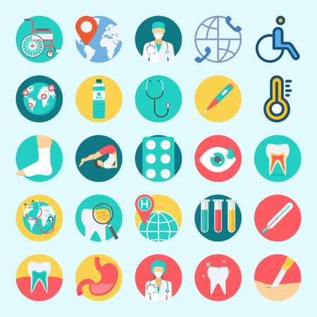 Icons set about Medical with tooth, water, stethoscope, worldwide, wheelchair and visibility Stock Illustratie