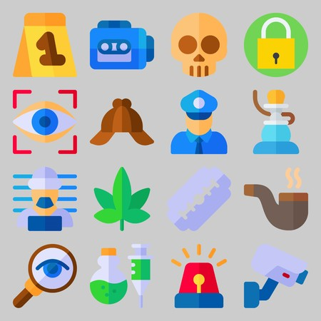 icon set about Crime Investigation. with marijuana, eye scan and cap
