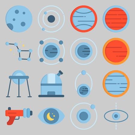 jeu d'icônes sur Univerce. avec constellation, observation et lune