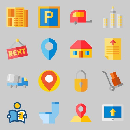 Icons set about Real Assets. with roof, maps and flags and skyline Ilustração
