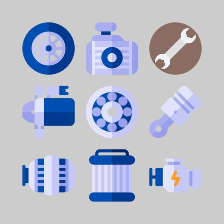 Icon set about Car Engine with piston, wrench and engine
