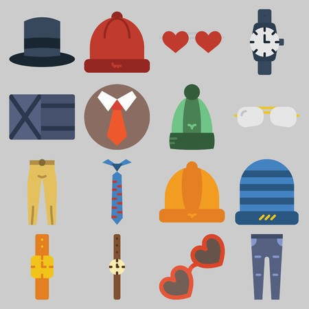 Icon set about Man Accessories with keywords top hat, winter hat, trousers, watch, tie and wallet