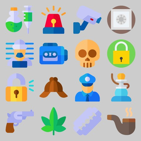 icon set about Crime Investigation. with recorder, razor and padlock