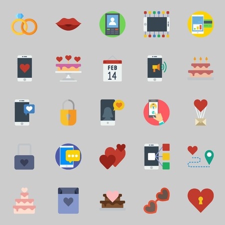 icons set about Romance Lifestyle. with sunglasses, love letter, route, hearts, smartphone and kiss Ilustracja
