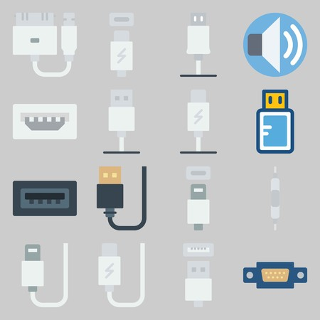 icon set about Connectors Cables. with volume, phone usb and usb cable