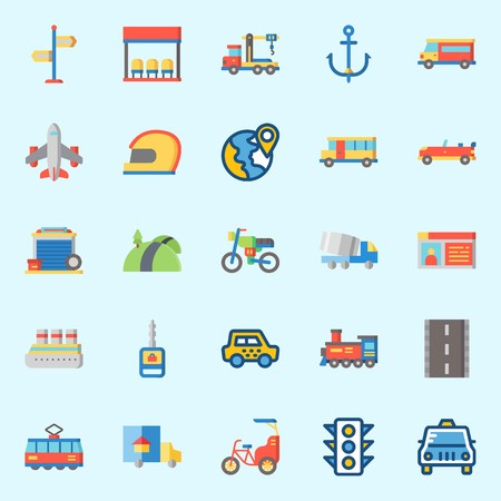 icons set about Transportation. with direction sing, crane, garage, car key, cruise ship and bus stop