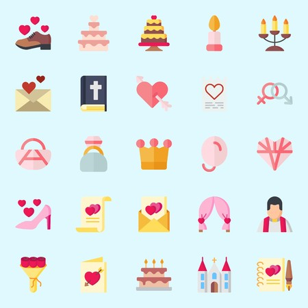 Icons set about Wedding with marriage, wedding arch, engagement ring, love, priest and candle
