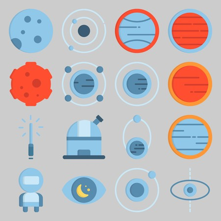 icon set about Univerce. with meteorite, orbit and observation Illustration