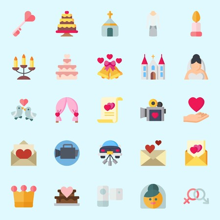 icons set about Wedding. with love letter, key, bride, love birds, love and suit Illustration