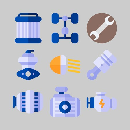 Icon set about Car Engine with pulley, piston and chassis