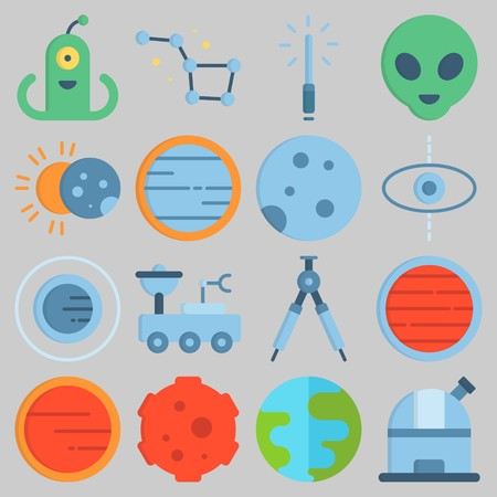 Icon set about Universe with keywords venus, observatory, planet, alien, eclipse and orbit