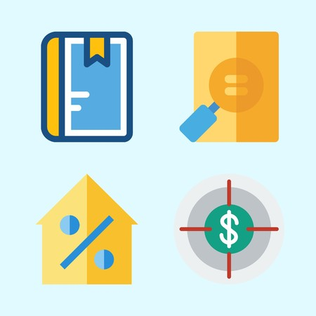 Icons set about Business with percentage, notebook, real estate, target and file Illustration