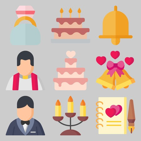 Icon set about Wedding items.