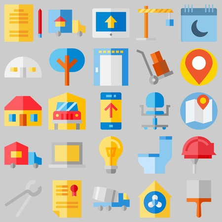 icon set about Real Assets. with petition, lamp and real estate