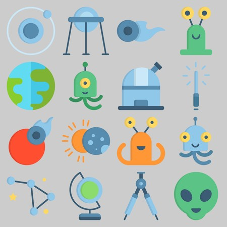 Icon set about Universe with keywords lightsaber, compass, comet, observatory, constellation and capsule