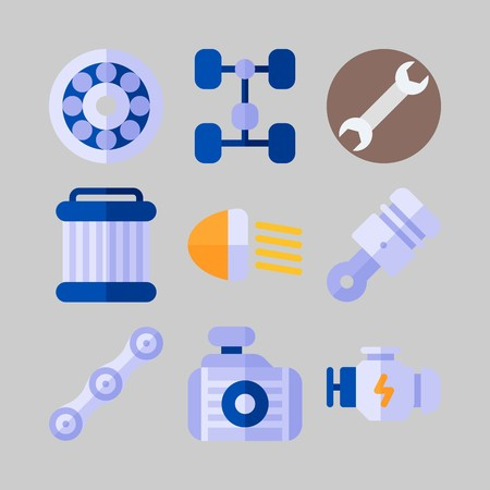 icon set about Car Engine. with car lights, wrench and chain