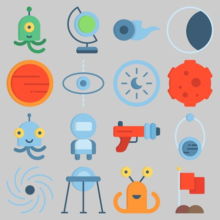 Icon set about Universe with keywords astrology, capsule, orbit, mars, flag and moon